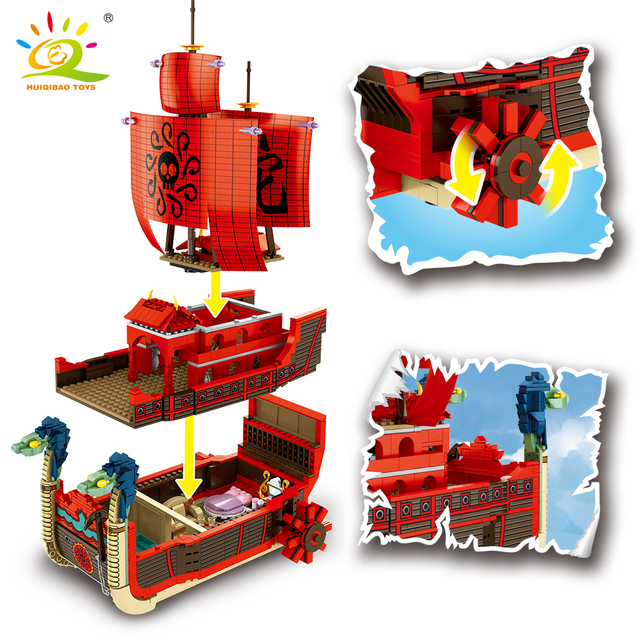 HUIQIBAO 1099PCS Nine Snake Ship Building Blocks Luffy Boa Hancock Anime Figures Pirate Boat Bricks set Children toys kids gift