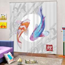 Modern style Koi Fish Curtain 3D Digital print for living room bedroom curtains home drapes(China)