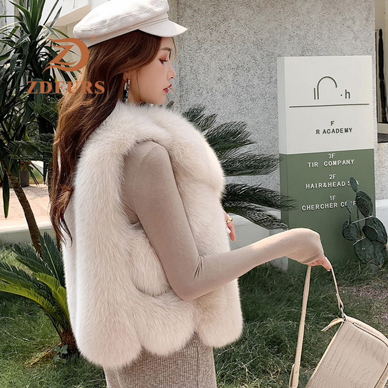 Image 3 - ZDFURS*New Arrival Natural Fur Waistcoat Plus Size Contrast Color Fashion Irregular Full Pelt Fox Fur Vest WomanReal Fur   -