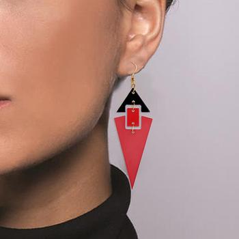Fashion Women Triangular Long Pendant Earrings Party Statement Jewelry Gift Pendant Earrings Party Statement Jewelry Gift Pendan image