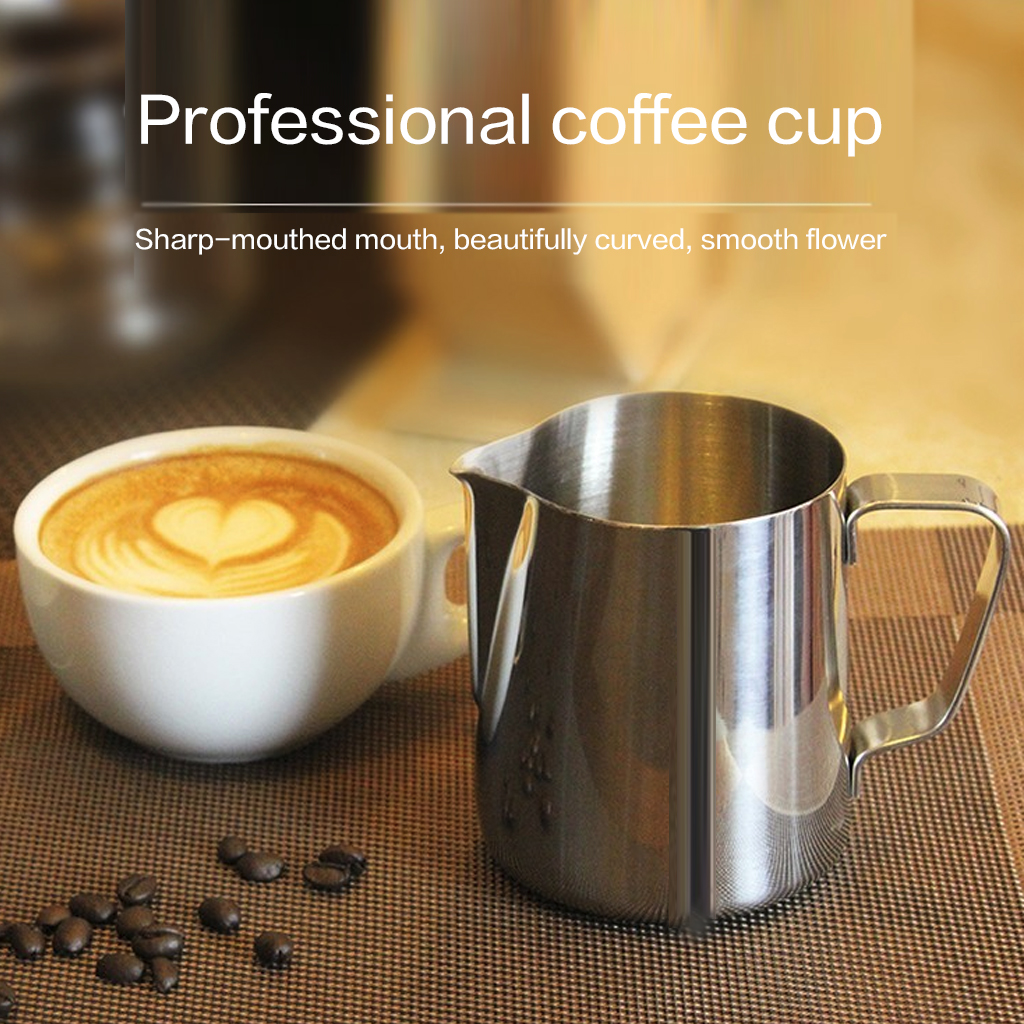 Durable Milk Jug 150-1000ml Stainless Steel Frothing Pitcher Pull Flower Cup Coffee Milk Frother Latte Art Container Coffeware