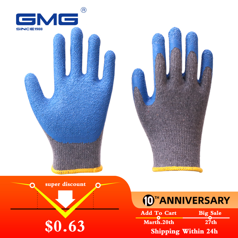 Working Gloves Men GMG Grey Shell Blue Latex Crinkle Coating Work Safety Gloves Cotton Gloves