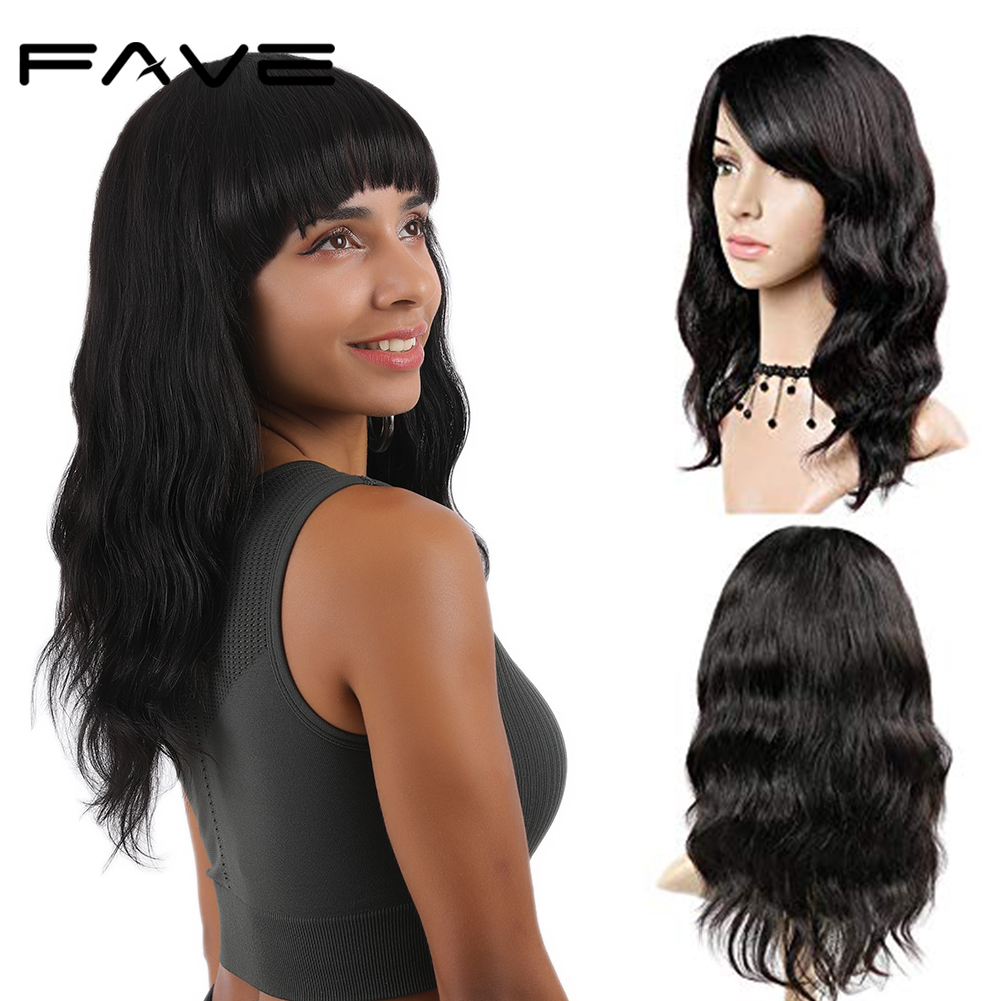 FAVE 100% Remy Human Hair Natural Wave Wigs With Bangs Brazilian Human Hair Wave Wigs Natural Black Color For Black/ White Women