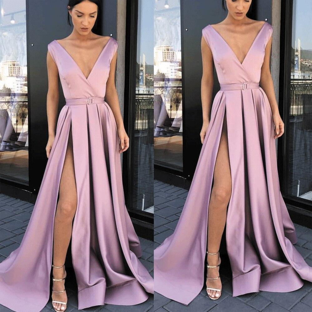 SuperKimJo V Neck Lilac Prom Dresses Long Satin Sleeveless Elegant Cheap Senior Prom Gowns Vestido De Festa De Longo