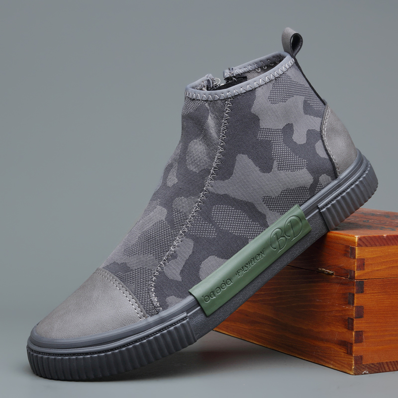 British Fashion Men Boots Breathable Non slip Casual Shoes Slip On Camouflage Pattern Side Zipper Boots