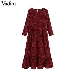 Image 1 - Vadim נשים שיק אדום הדפס מנומר midi שמלת בעלי החיים דפוס ארוך שרוול בציר נשי מזדמן אמצע עגל שמלות vestidos QC730