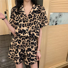 2021 New Homewear Leopard Pattern Pajamas Women's Short Sleeve Summer Two Piece