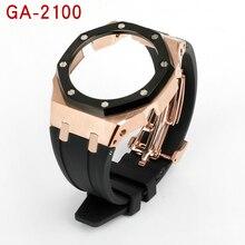 Для объектива с оптическими зумом Casio G-SHOCK GA2100 изменение AP третьей каучуковый ремешок и металлический чехол 316 нержавеющая сталь ремень для ...