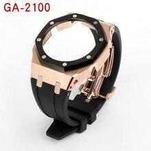 Para casio g shock ga2100 modificado ap terceira pulseira de borracha e caixa de metal 316 pulseira de aço inoxidável relógio masculino acessórios