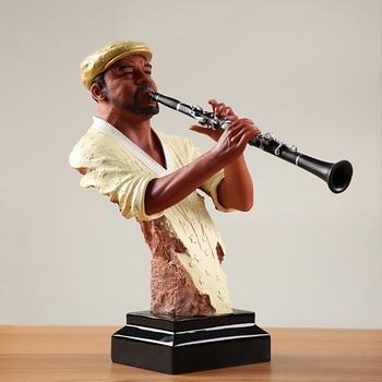 Abstract Pub Clarinet Player Bust Handmade Resin Instrumentalist Statue Musician 5