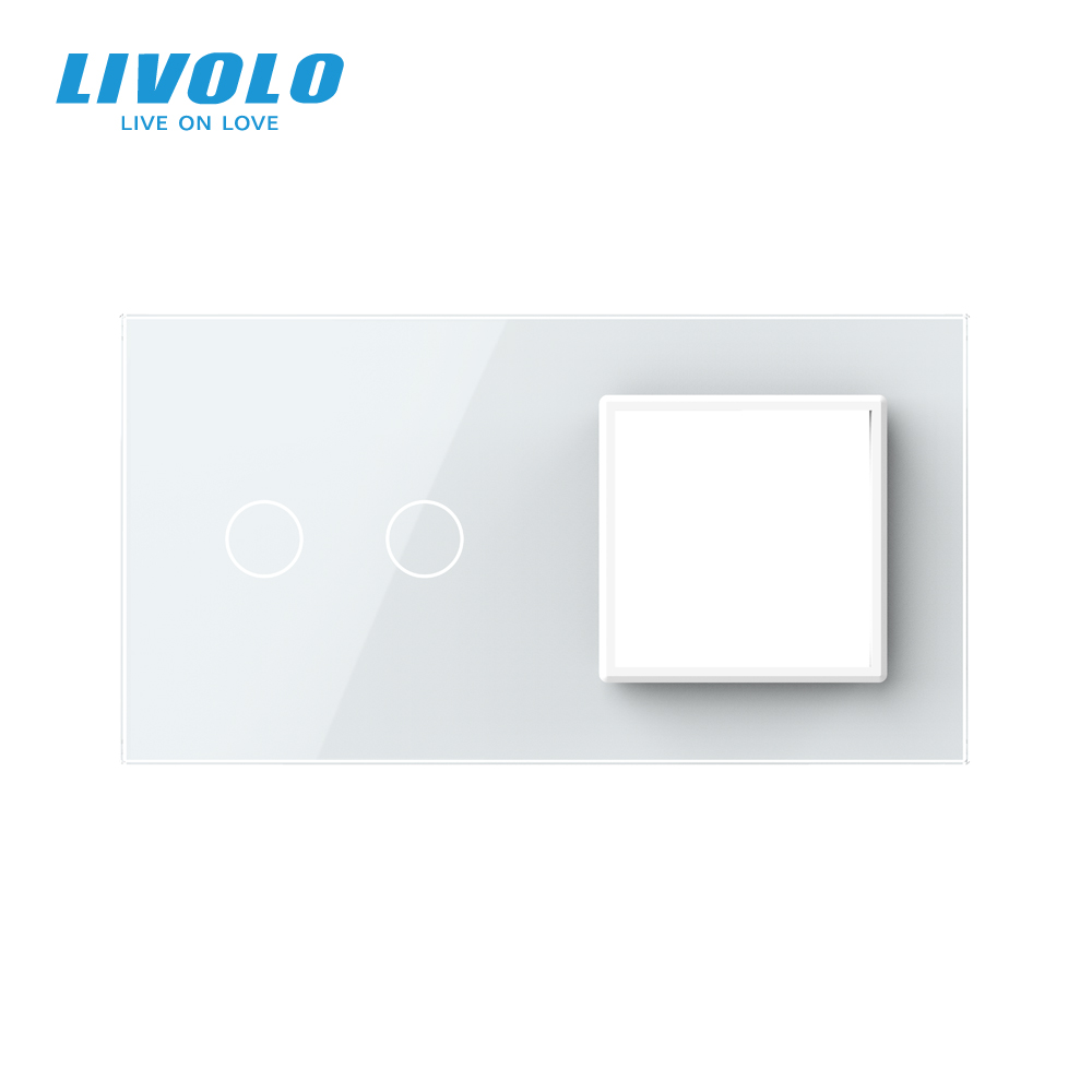 cheapest Livolo Luxury White Pearl Crystal Glass 151mm 80mm EU standard 2Gang  amp 1 Frame Glass Panel VL-C7-C2 SR-11  4 Colors