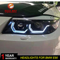 Car Styling Car E90 Headlight for BMW E90 330I 320I 318i led Angel Eyes E90 headlight 2005 2012 year E90 Headlighs
