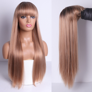LISI HAIR Blonde Long Straight Wig With Bangs Synthetic Hair Wigs Bang With Wig For Black /White Woman Brown Heat Resistant Wig