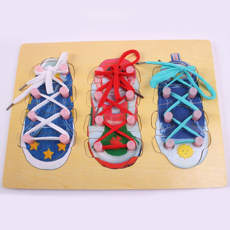 Montessori Material Sensorial Shoe Lacing Puzzle Montessori Educational Wooden Toys Preschool Montessori Toys For Infants