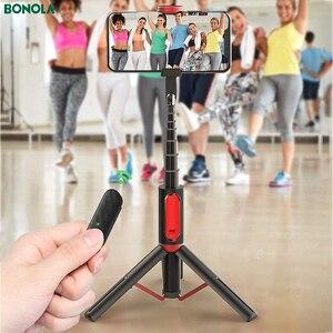 Image 2 - Bonola Palo Selfie para teléfono con Bluetooth palo Selfie de mano con trípode oculto resistente, soporte remoto ligero para transmisión en vivo