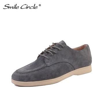 Sourire cercle daim cuir femmes mocassins chaussures plates automne dames chaussures bretelles croisées cool marée couleur grande taille 36-41