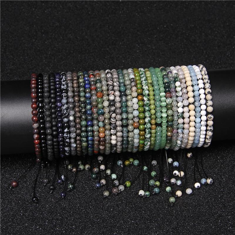 4mm Mini Energy Bracelet Natural Stone lapis lazuli Agates Beads Yoga Braided Bracelet Adjustable for Women Men Handmade Jewelry