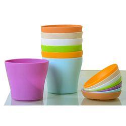 8 sztuk 4 cal małe doniczki do roślin kolorowe plastikowe doniczki roślina doniczkowa garnki dla biura dom biurko z paletą/tace (niebieski  fioletowy