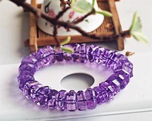 Image 5 - Натуральный Бразильский аметистовый кварцевый кристалл лаванды 14 мм, прозрачные граненые бусины, браслет для женщин и мужчин, модный сертификат AAAAA
