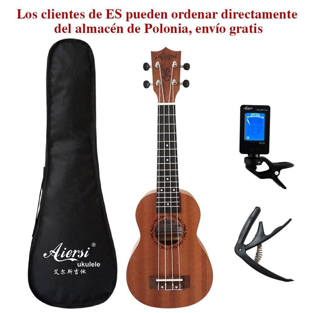 Aiersi marca 21 polegada ukelele mogno soprano gecko ukulele instrumento musical guitarra 4 cordas hawaiian mini guitarra