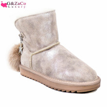Sheep Wool Boots Women Sheepskin Sheep Fur Snow Boots Shoes Genuine Leather Ball Boots Cowskin 2019 Winter New Women's Shoes 2018 australia style women genuine sheep leather and real fur boots winter women snow boots two diamond bows winter boots
