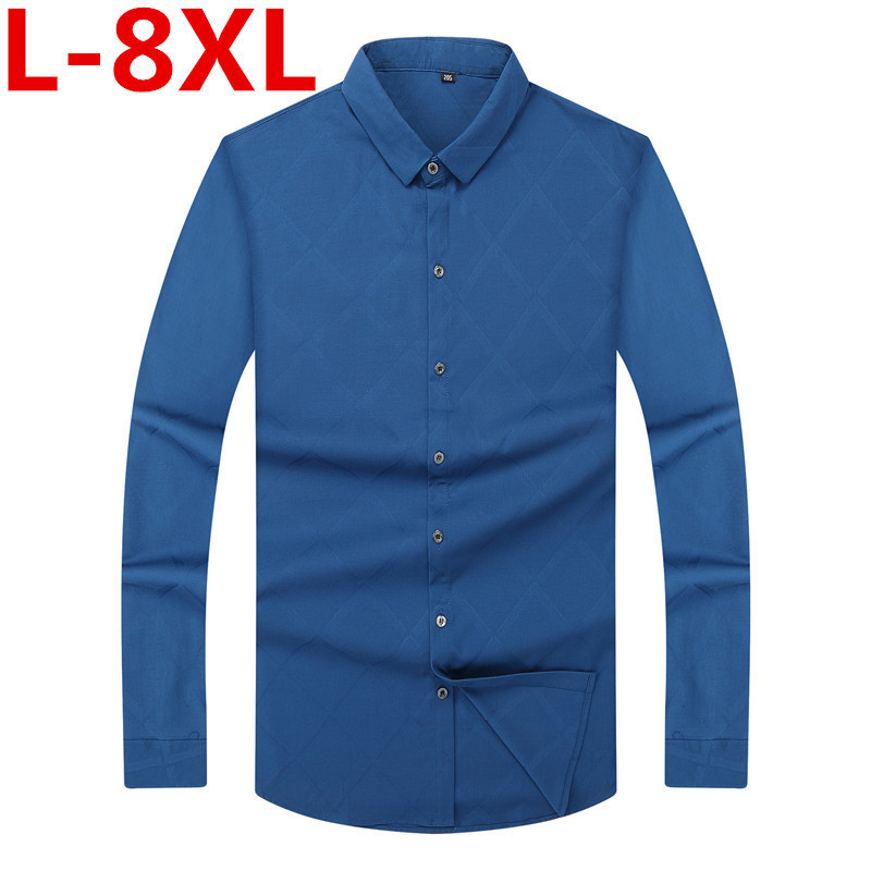 Plus Size 8XLmen Casual Long Sleeved Printed Shirt Slim Fit Male Social Business Dress Shirt Brand Men Clothing Soft Comfortable