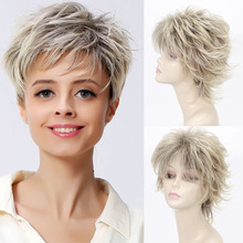 Short Wig Synthetic Wigs with Side Bangs Dark Roots Ombre Wig for Women Natural Wave Hair emmor long dark brown ombre wavy synthetic hair wigs with bangs high temperature layered fluffy daily wig for women
