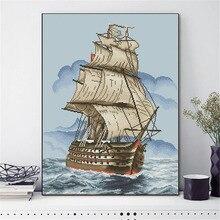 HUACAN Cross Stitch Sailboat Scenery Needlework Sets Embroidery Sea Landscape Kits White Canvas DIY Home Decor 14CT 40x50cm