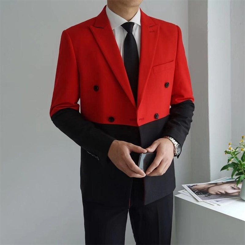 Half Black Red White Men Blazer Hombre Double Breasted Blazer Masculino  Slim Fit Wedding Prom Stylish Splice Men Blazer Homme 1
