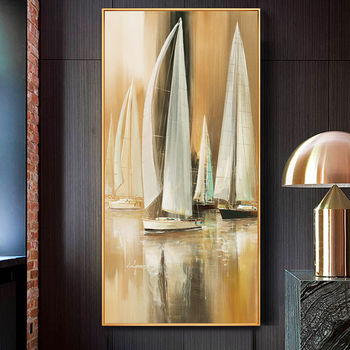 Oil Painting By Handpainted Modern Sailing Abstract Canvas Painting Wall Art Pictures For Living Room Home Decor Gift Frameless