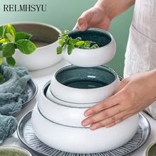 1PC RELMHSYU 6 5 Cal styl japoński Retro ceramiczna zupa Ramen restauracja duża miska z makaronem zastawa stołowa tanie tanio CN (pochodzenie) Podszkliwna CE UE Lfgb JEDNA 000313 Miski Ekologiczne Porcelany Stałe 1l