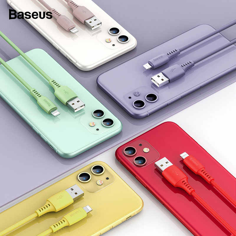 Baseus Cable USB para iPhone 11 Pro Max cargador de Cable de carga para iPhone X Xs X Xr 8 7 6s 2.4A USB colorido Cable de datos de Cable de teléfono
