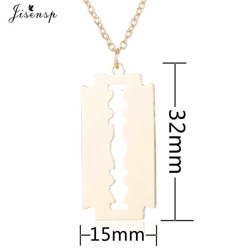 Jisensp unikalna konstrukcja Punk Blade naszyjnik ze stali nierdzewnej Vintage geometryczne wiszące naszyjnik dla kobiet mężczyzn modna biżuteria na prezent