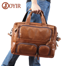 Men's Briefcase Messenger-Bag Laptop-17--Inch Genuine-Leather Travel Large-Capacity Portfoli