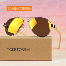 Toketorism pilot sunglasses mens travel womens Bamboo glasses wood arms uv400  0402