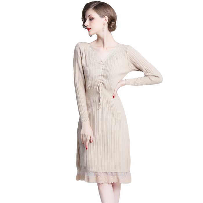 Nuevo 2019 vestido de encaje ajustado cuello pico suéter largo sobre la rodilla Draw String vestidos negro albaricoque 6300