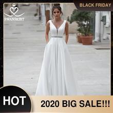 Swanskirt cristal cetim vestido de casamento 2020 novo vintage v neck a line com bolsos vestido de noiva plus size noiva n114