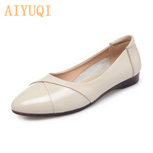 AIYUQI 2019 Autumn New women Flat shoes Genuine Leather Comfortable bottom Big Size 41 42 43 Casual Loafers  Mother Shoes 2018 autumn new mother casual shoes work cloth shoes women flat antiskid comfortable fashion sneakers shoes plus size 42