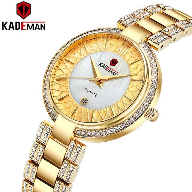 חדש הגעה למעלה יוקרה מותג KADEMAN נשים של קוורץ שעון תאריך אופנה גבירותיי שעוני יד קריסטל יהלומים עמיד למים Montre Femme