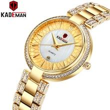 新着トップ高級ブランド kademan 女性時計の日付ファッションレディース腕時計クリスタルダイヤモンド防水 montre ファム