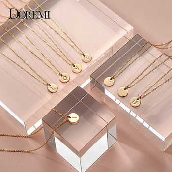 DOREMI 12 mm Gold Initial Custom Name Personalized Drop Disc Pendants Necklaces