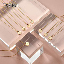 DOREMI 12 mm Gold Initial Necklace Custom Name Personalized Drop Disc Pendants Necklaces Beauty Mother Gifts A-Z