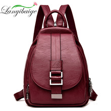 2019 Designer Backpacks Women Leather Backpacks Female School Bag  for Teenager Girls Travel Back Bag Retro Bagpack Sac a Dos