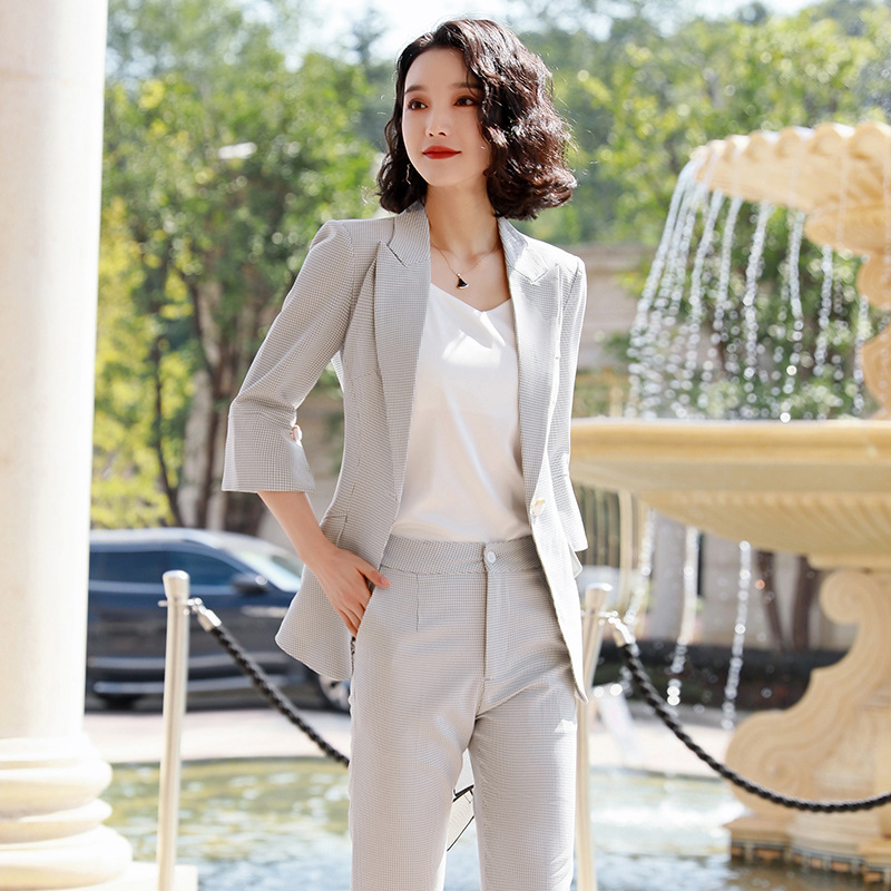 Professional Women's Pants Suit Feminine 2020 New Women's Plaid Blazer High Quality Office Interview Clothing Casual Trousers