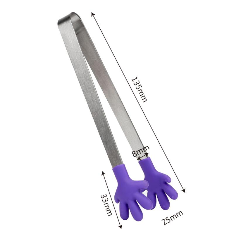 Salad Serving Baking BBQ Tongs Stainless Steel Handle Utensil Creative Hand Shape Mini Silicone Food Clip Kitchen Cooking Tools
