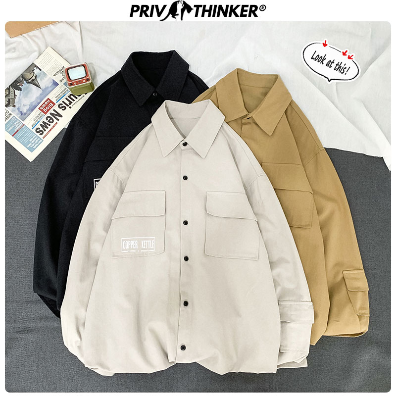 Privathinker Men Spring Printing Long Sleeve Shirts 2020 Men's Harajuku Blouse Streetwear Couple Clothes Male Casual Shirts 5XL