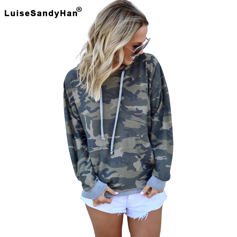 Camouflage Stitching Long-sleeved Hoodies Women Printed Loose Drawstring Mid-length Hooded Sweatshirts Female 2020 Spring