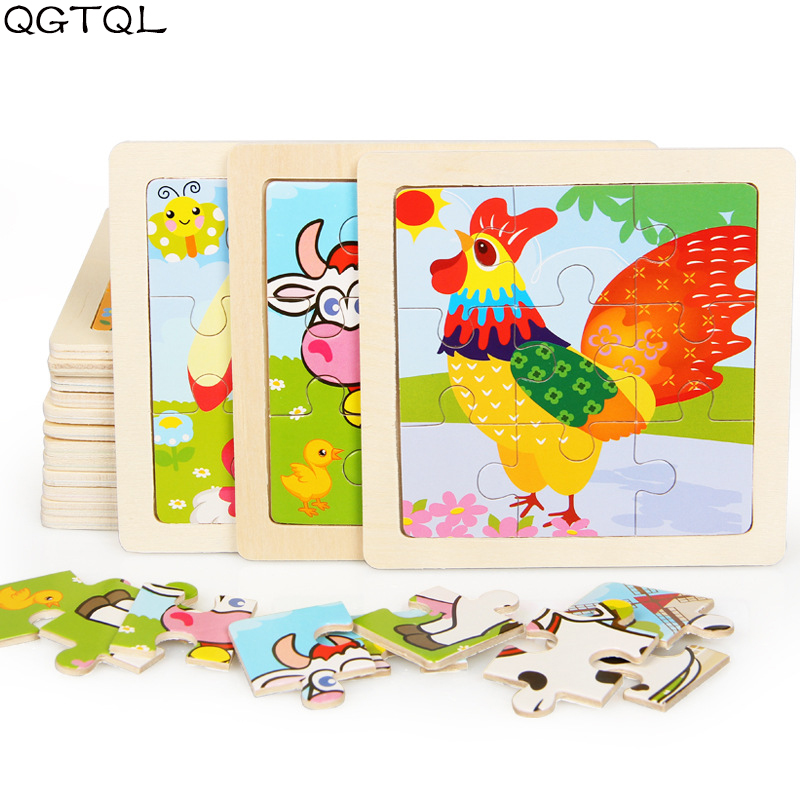 Mini Size 11*11CM Kids Toy Wood Puzzle Wooden 3D Puzzle Jigsaw for Children Baby Cartoon Animal/Traffic Puzzles Educational Toys(China)