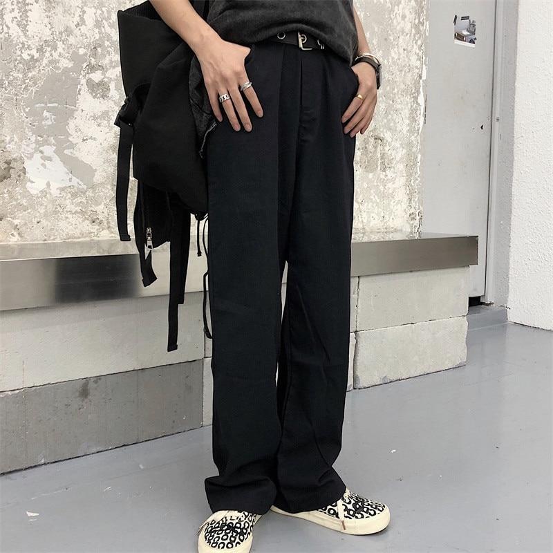 Focal20 Streetwear Solid Zipper Women Pants Casual Loose Elastic Waist Straight Leg Female Trousers Spring Autumn Lady Bottoms 6
