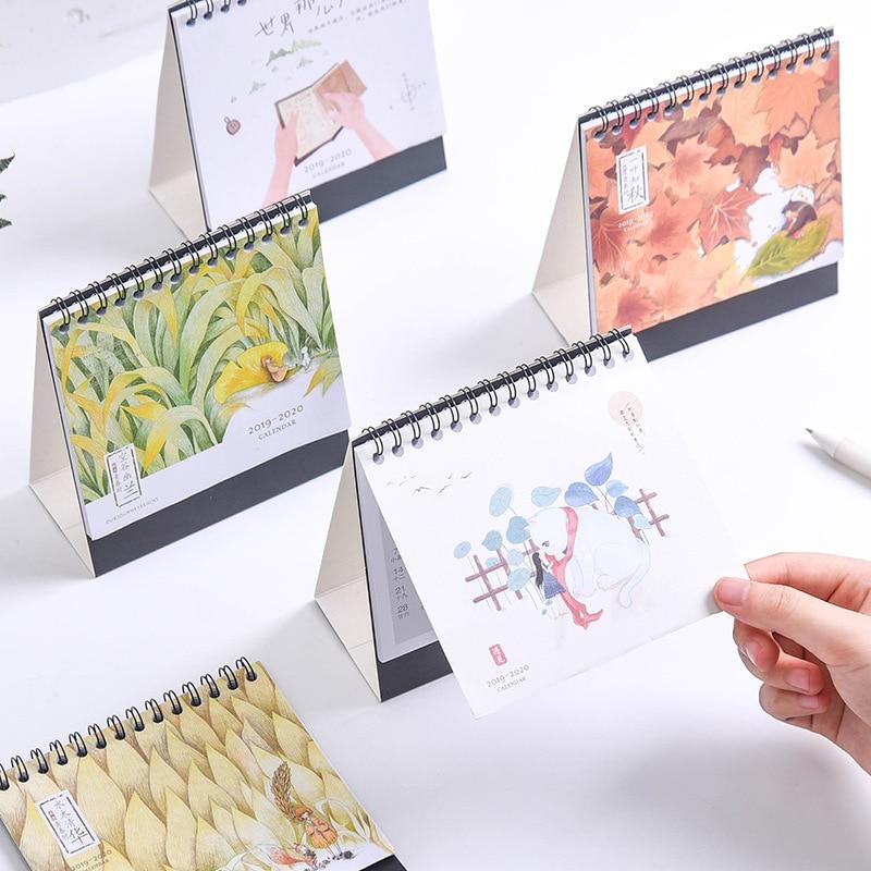 NEW 2020 Kawaii Cartoon Animals Calendar Mini Table Desk Calendar Office Work Learning Schedule Periodic Timetable Stationery